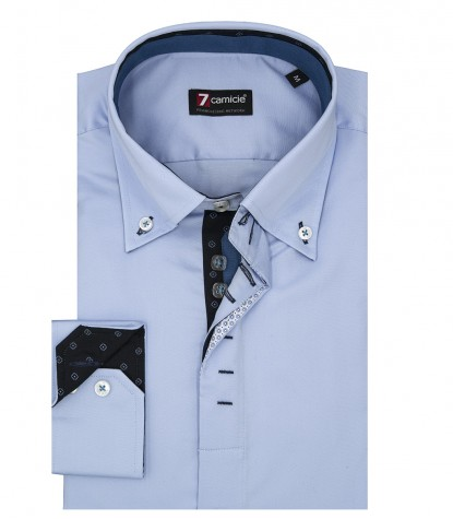 2 button button-down slim man shirt in light blue satin