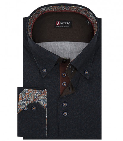 2 button button-down slim man shirt super Oxford printed blue and dark orange