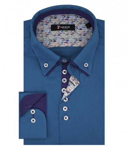 Camicia Uomo 1 Bottone Button Down Doppio Collo Piccolo Slim POPELINE STRETCH UNITO Turchese
