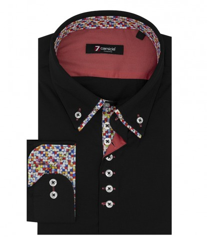 Camicia Uomo 1 Bottone Button Down Doppio Collo Piccolo Slim POPELINE STRETCH UNITO Nero