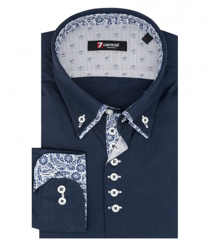 Camicia Uomo 1 Bottone Button Down Doppio Collo Piccolo Slim POPELINE STRETCH UNITO Blu