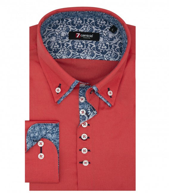 Camicia Uomo 1 Bottone Button Down Doppio Collo Piccolo Slim POPELINE STRETCH UNITO Corallo