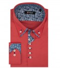 1 Button Down Small Double Collar Slim Man Shirt Popeline Stretch Plain Coral