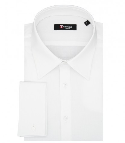 1 Button Italian Collar Slim Man Shirt Slim Fit Popeline Stretch Plain White