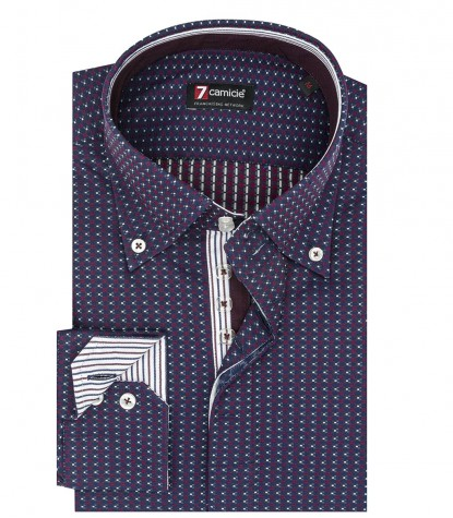 Camicia uomo 2 bottoni button down slim jacquard fantasia blu e bordeaux