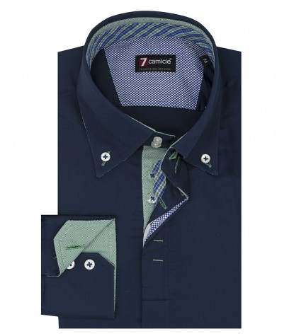 Camicia uomo 2 bottoni button down slim satin unito blu