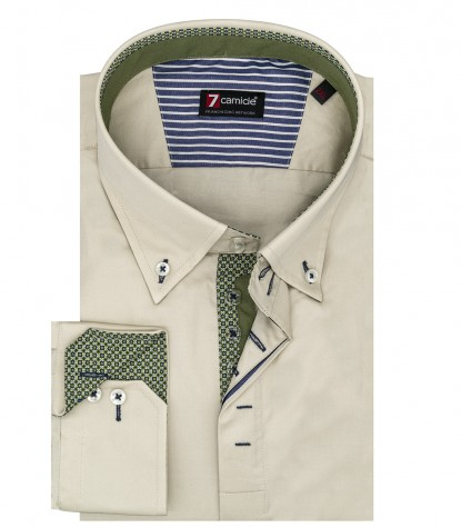 Camicia uomo 2 bottoni button down slim satin unito champagne