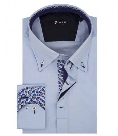 Camicia Uomo 2 Bottoni Button Down Slim Satin Unito Celeste