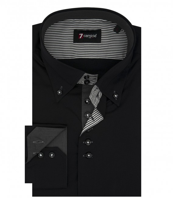 Camicia Uomo 2 Bottoni Button Down Slim POPELINE STRETCH UNITO Nero