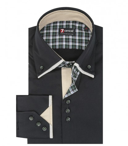 3 button button-down double collar slim man shirt in solid black satin