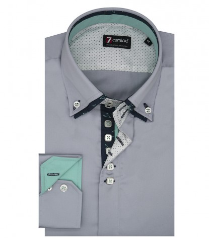 Camicia uomo 2 bottoni button down 7 bottoni doppio collo slim satin unito grigio