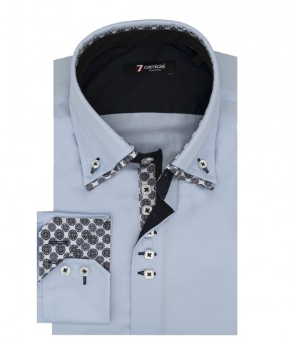 Camicia uomo 2 bottoni button down 7 bottoni doppio collo slim satin unito celeste