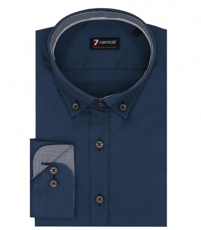 Camicia uomo 1 bottone button down slim popeline stretch unito blu chiaro