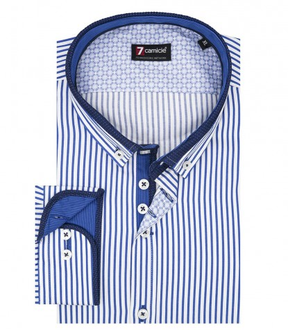 Camicia Uomo 1 Bottone Button Down Slim Satin Riga Media BiancoBlu Inchiostro