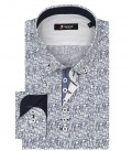 1 Buttons BDW Slim Man Shirt Popeline Pattern White and Blue