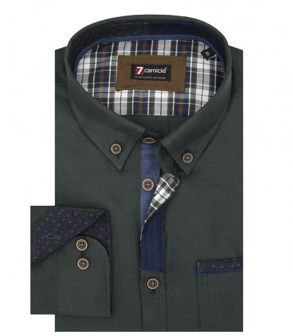 Camicia Uomo 1 Bottone Button Down Slim Oxford unito Verde Scuro