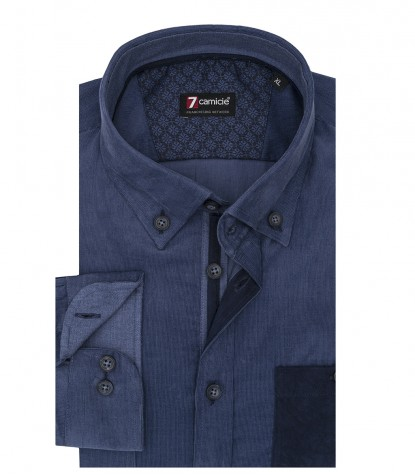 Camicia Uomo 1 Bottone Button Down Slim Velluto Unito Blu avion