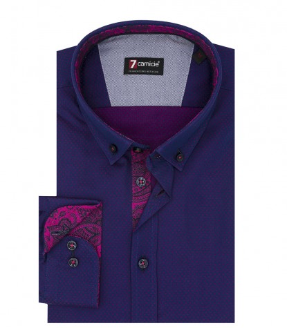 1 Button Button Down Slim Man Shirt Fancy Jacquard Blue/Cyclamen Purple