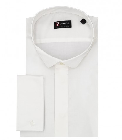 Camicia Uomo 1 Bottone Smoking Slim POPELINE STRETCH UNITO Bianco