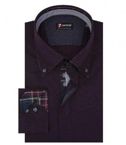 2 Buttons Bdwn Slim Man Shirt Fancy Jacquard BlueBordeaux