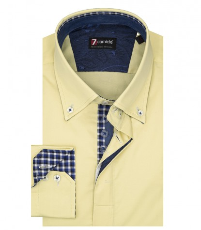 Camicia Uomo 2 Bottoni Button Down Slim Satin Unito Giallo