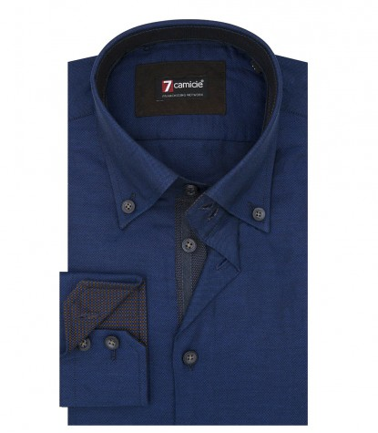 Camicia Uomo 2 Bottoni Button Down Slim Oxford unito Blu