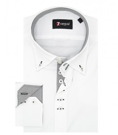 Camicia Uomo 2 Bottoni Button Down Slim POPELINE STRETCH UNITO Bianco
