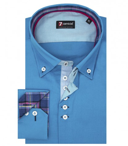 Chemise Homme 2 Boutons Popeline Stretch Turquoise