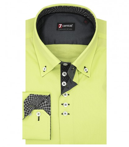 Camicia Uomo 2 Bottoni Button Down Slim POPELINE STRETCH UNITO Verde