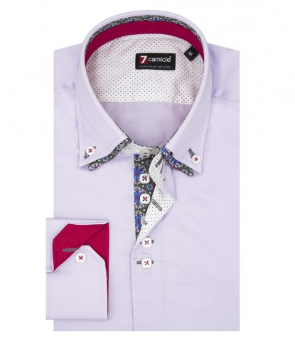 Camicia Uomo 2 Bottoni Button Down 7Bottoni Doppio Collo Slim Satin Unito Lilla