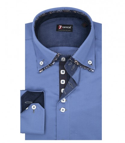 Camicia Uomo 2 Bottoni Button Down 7Bottoni Doppio Collo Slim Satin Unito Blu avion