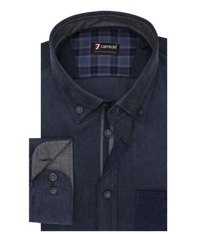 Camicia Uomo 1 Bottone Button Down Slim Velluto Unito Blu