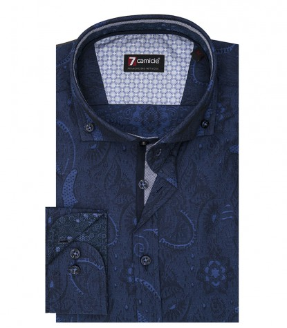 Camicia Uomo 1 Bottone Button Down Slim Jacquard Fantasia Blu Bluette