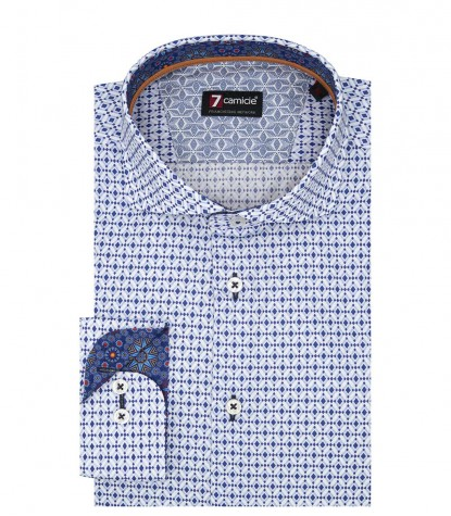 1 Button French Collar Slim Man Shirt Printed Cotton WhiteLite Blue