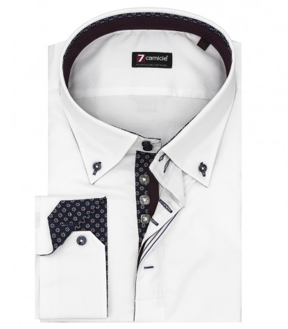 Camicia Uomo 2 Bottoni Button Down Slim Satin Unito Bianco