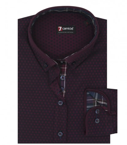 1 Button Bdwn Woman Shirt Fancy Jacquard BlueBordeaux