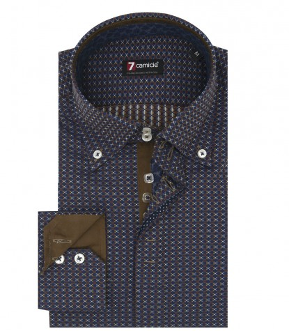 Camicia Uomo 2 Bottoni Button Down Slim Jacquard Fantasia Blu Marrone