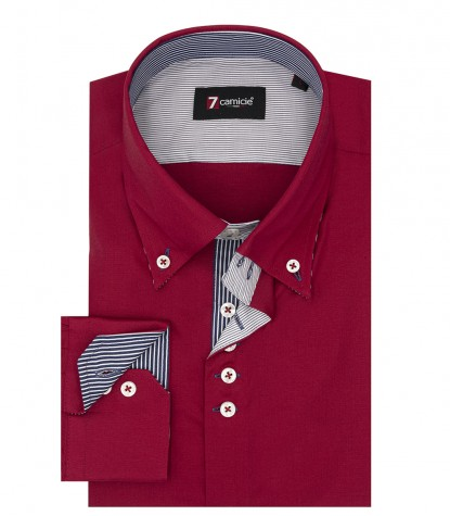 Camicia Uomo 2 Bottoni Button Down Slim POPELINE STRETCH UNITO Rosso