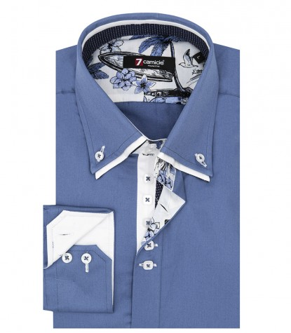 Shirt Marco Polo Satin Avion Blue