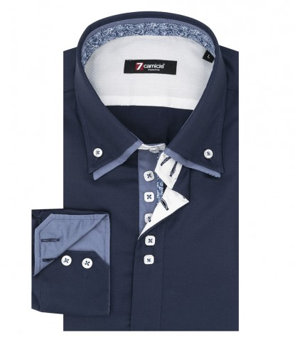Shirt Marco Polo Satin Dark Blue