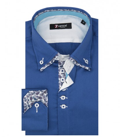 Camicia Marco Polo Satin Sky Blue