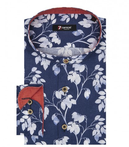 Shirt Caravaggio Linen White and Blue