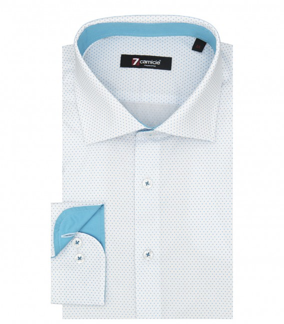 Shirt Firenze jacquard White and Turquoise