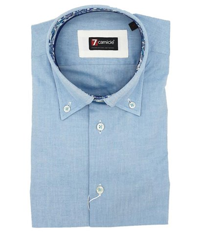 2 Buttons Button Down Slim Man Shirt Solid Color Oxford Turquoise
