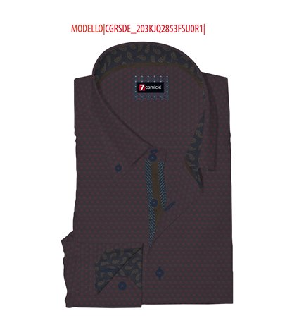 Camicia Uomo 2 Bottoni Button Down Slim Jacquard Fantasia Blu Bordeaux