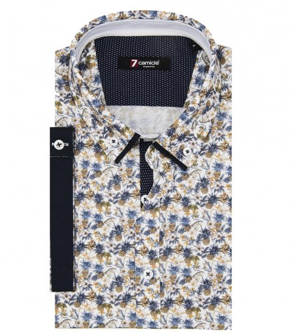 Shirt Leonardo Poplin Mud and White