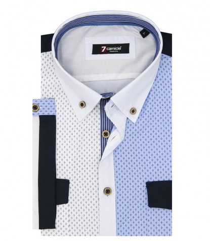 Shirt Leonardo Poplin Light Turquoise and Blue