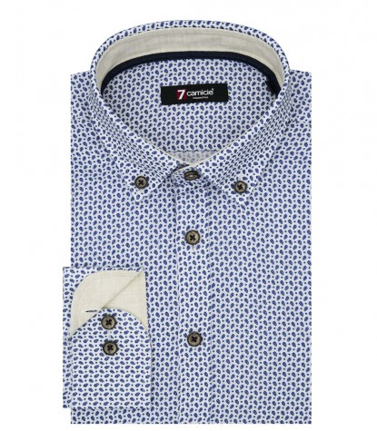 Shirt Leonardo Linen White and Blue