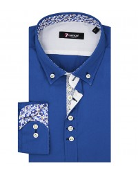 Camicia Uomo 1 Bottoni Button Down Slim POPELINE STRETCH UNITO Bluette