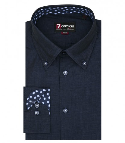1 button button-down slim man shirt Fil a Fil Plain Blu